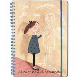 """Quaderno A4 120 fogli spirale/elastico - pagine: righe/quadretti/bianche """"Al Cuor..."""" Le Nasute"""