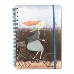 """Quaderno A5 120 fogli - con spirale ed elastico con pagine a righe/quadretti/bianche """"Bicicletta"""" Le Nasute"""