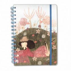 """Quaderno A5 120 fogli - con spirale ed elastico con pagine a righe/quadretti/bianche Le Nasute """"Giardino"""""""